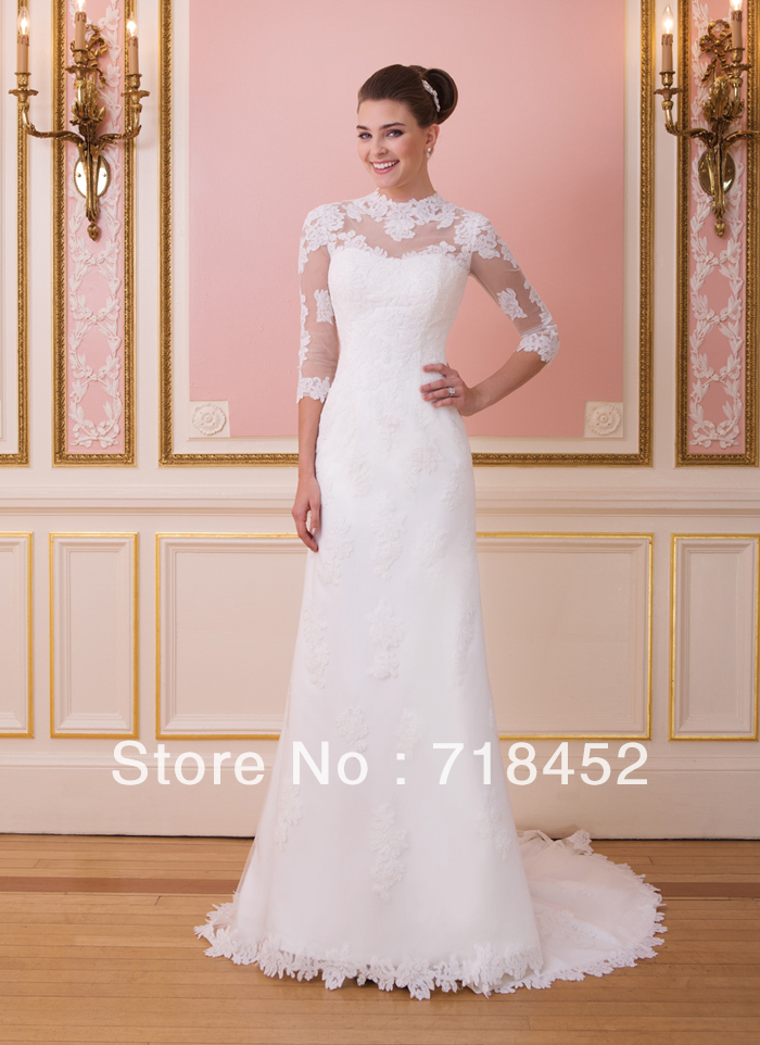 New fashion 2014 lace 3 4 sleeve wedding dress a line for Wedding dress with sheer sleeves