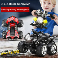 Newest 1:12 RC Motorcycle 2.4G 4WD Remote Control Motorcycle Dancing Dump Car Rolling Roating Drift Car Electronic RC Toys(China (Mainland))