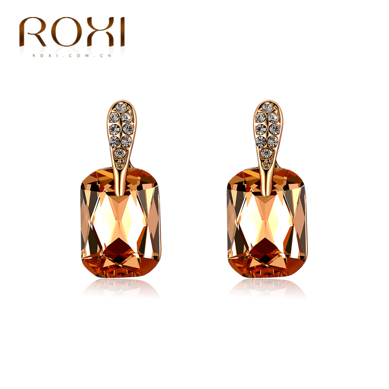 Champagne opal crystal 18K gold plated small Drop earrings for women copper earring trendy jewelry(China (Mainland))