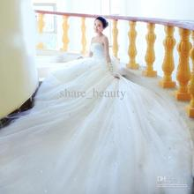 Free Shipping Bridal gowns Strapless Beaded Long tail wedding dresses 'Free Gift Necklace Earrings'()