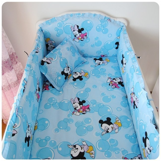 Promotion! 6PCS Mickey Mouse Baby Bedding Crib Sets,Infant Bedding Set Baby Crib Sheets(bumpers+sheet+pillow cover)<br><br>Aliexpress