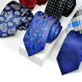 2016 Fashion Polyester Silk Striped Paisley Neck Tie 7cm Skinny Neckties Wedding Business Suits Ties for