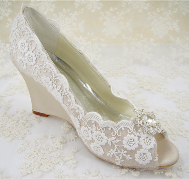 Rhinestones Bridal Shoes Womens Wedding Shoes Wedges Lace Shoes Pointed Toe Bridal Ivory
