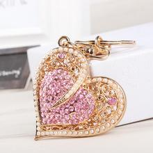New Fashion Sweet Heart Pearls Crystal Charm Pendant Purse Bag Car Key Ring Chain Wedding Party Jewelry Favorite Gift(China (Mainland))