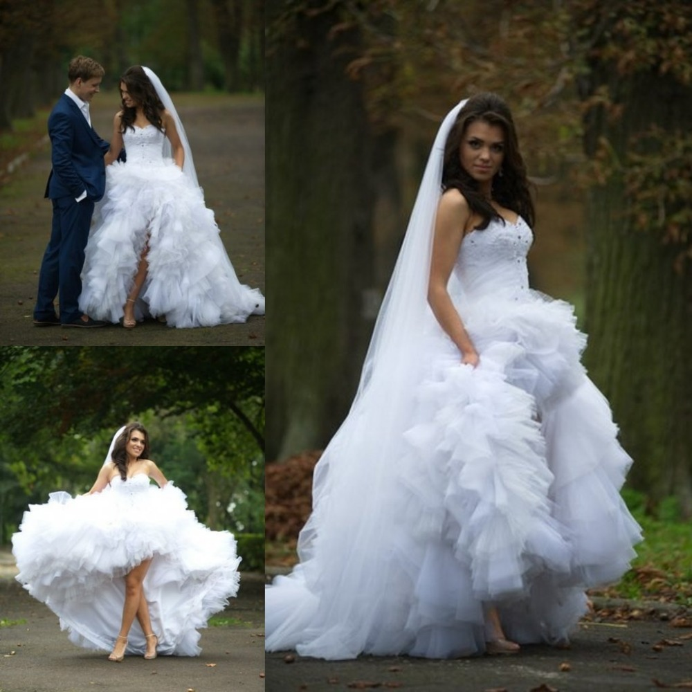 Saudi arabic high low wedding dress victorian ball gowns for Tulle high low wedding dress