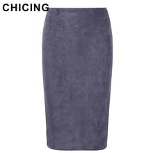 CHICING 2016 Women Suede Multi Color Pencil Midi Skirt Female Autumn Winter Basic Tube Bodycon Skirts Saia Femininas A1609022(China (Mainland))