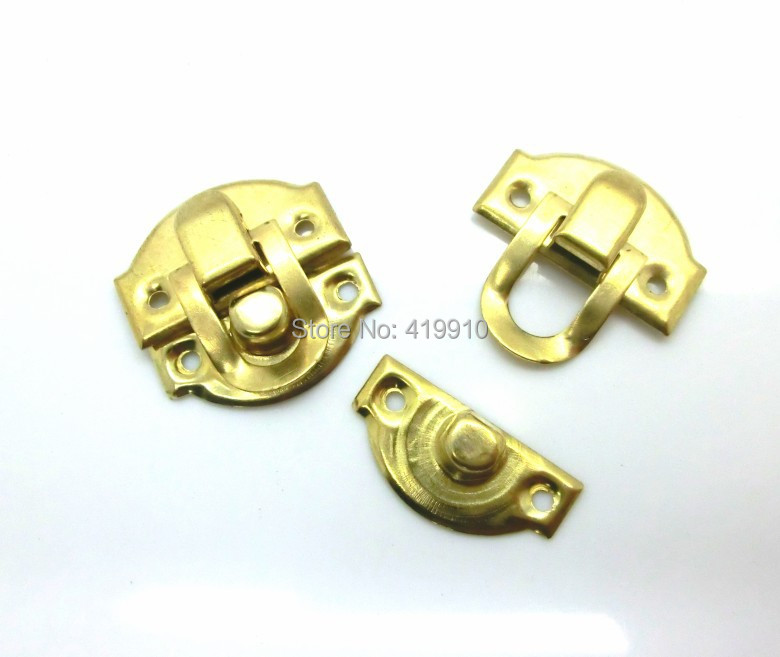 Free Shipping-50 Sets Golden Jewelry Wooden Case Boxes Making Lock Latch Hardware 28mm x 27mm 27mm x 13mm,D2145(China (Mainland))