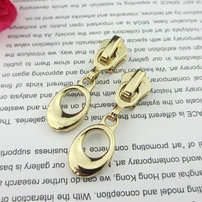 Free shipping 10pcs/lot 3# 5# Pull bright gold zipper head dress jacket handbags ear ring circle zipper head(China (Mainland))