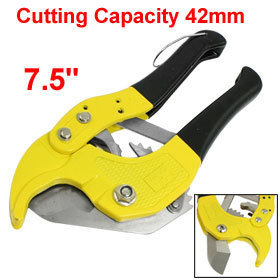 "Yellow Black 42mm 1 5/8"" PVC Pipe Hose Tube Ratchet Cutter Hand Tool 7.5"""