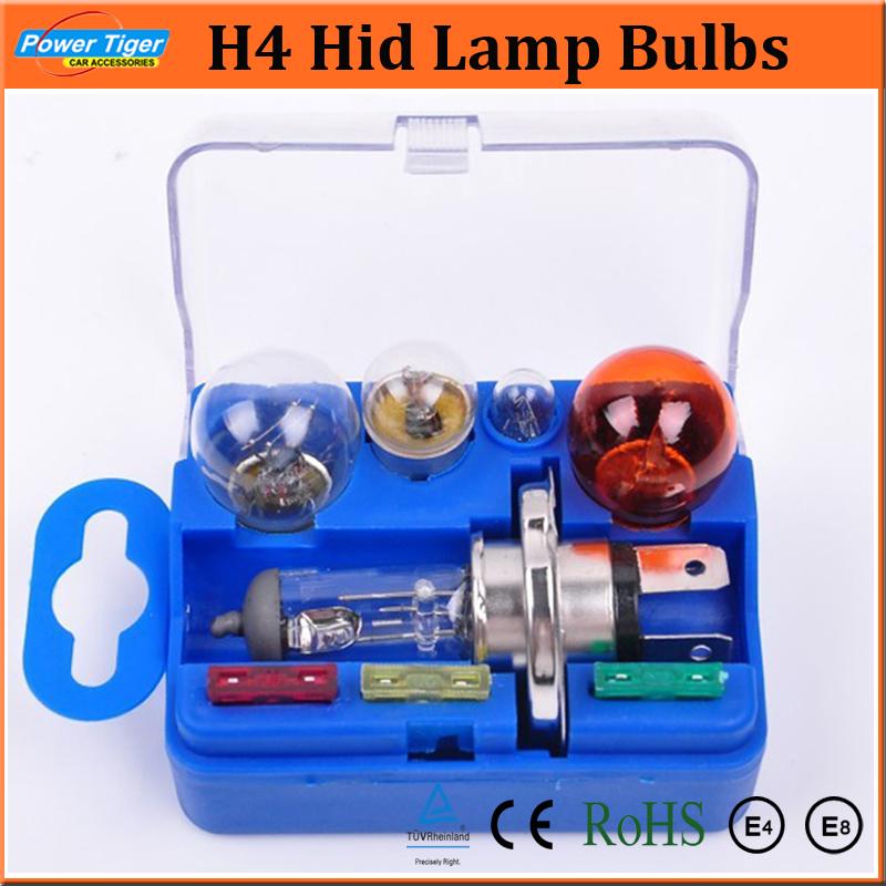 Brand New H4 Xenon Auto Light Kits Universal Lamp Set HeadLight Bulb 12V H4 Hid Lamp Bulbs Fuse Accessory Set 2 sets/lot<br><br>Aliexpress