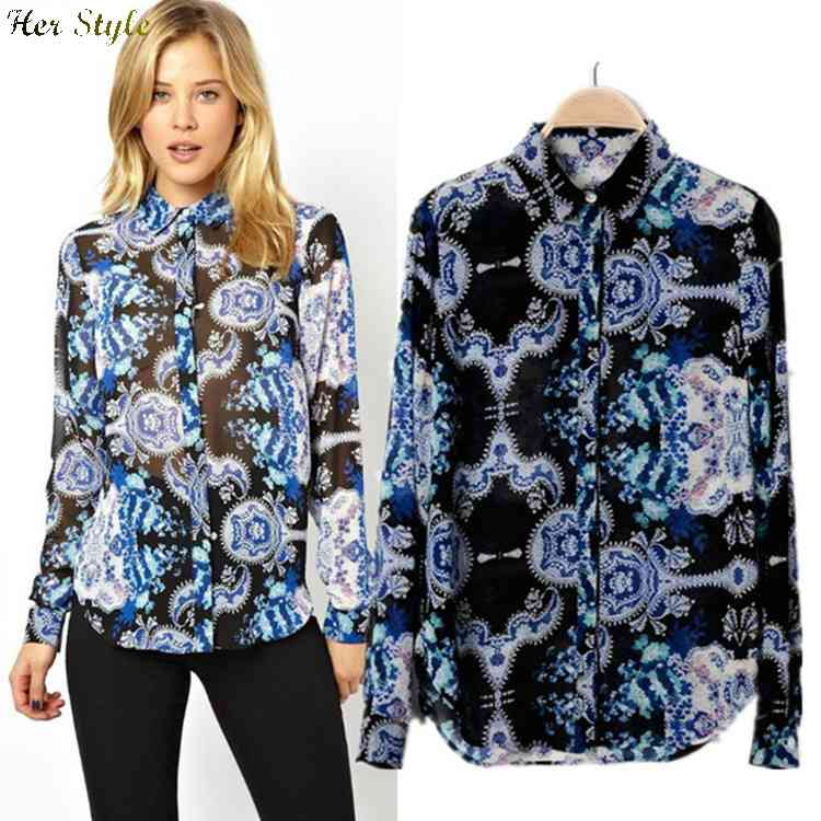 Free Shipping 2015 spring wind temperament of Oriental blue and white printed chiffon shirt women long sleeve 1426153112(China (Mainland))