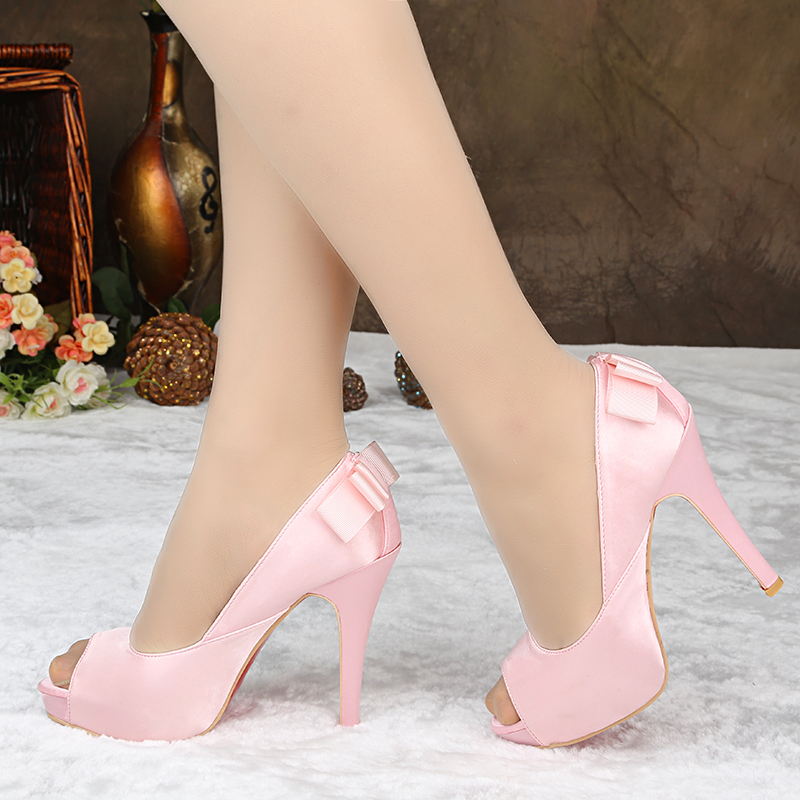 High Quality 2014 Satin Bridal Shoes black red fish mouth shoes wedding shoes women shoes JG-216(China (Mainland))