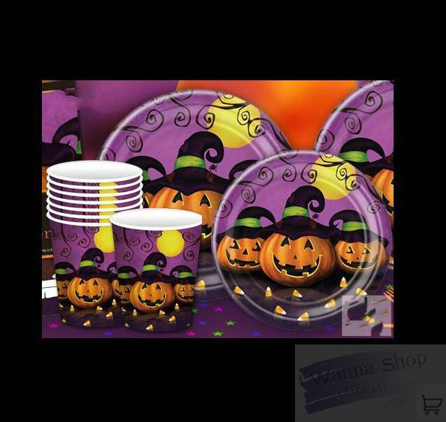 5 Eco Friendly Halloween Decoration Ideas: Eco Friendly Halloween Disposable Dishware Set Decoration