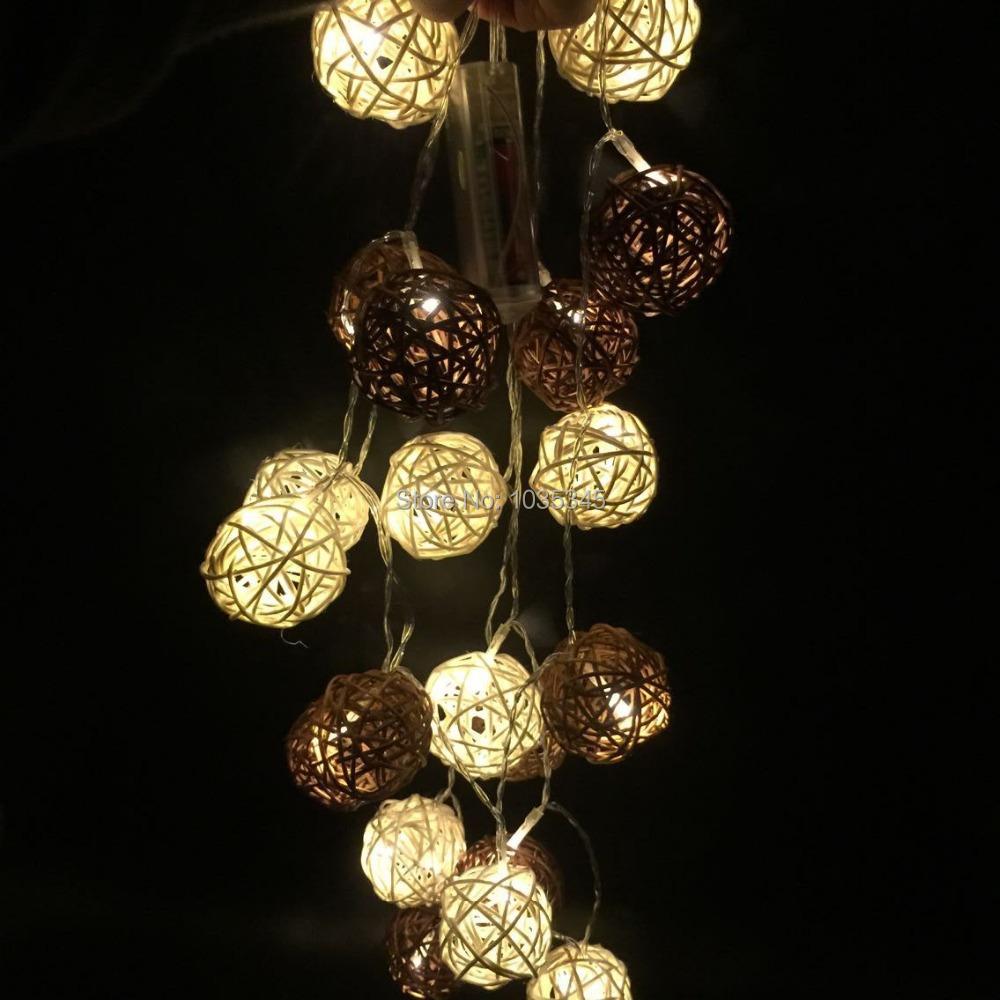 LED Battery String Lights 2White&Brown Handmade Rattan Balls Fairy Party Wedding Patio Christmas Decor - SUNWAY OPTOELECTRONIC CO., LTD store