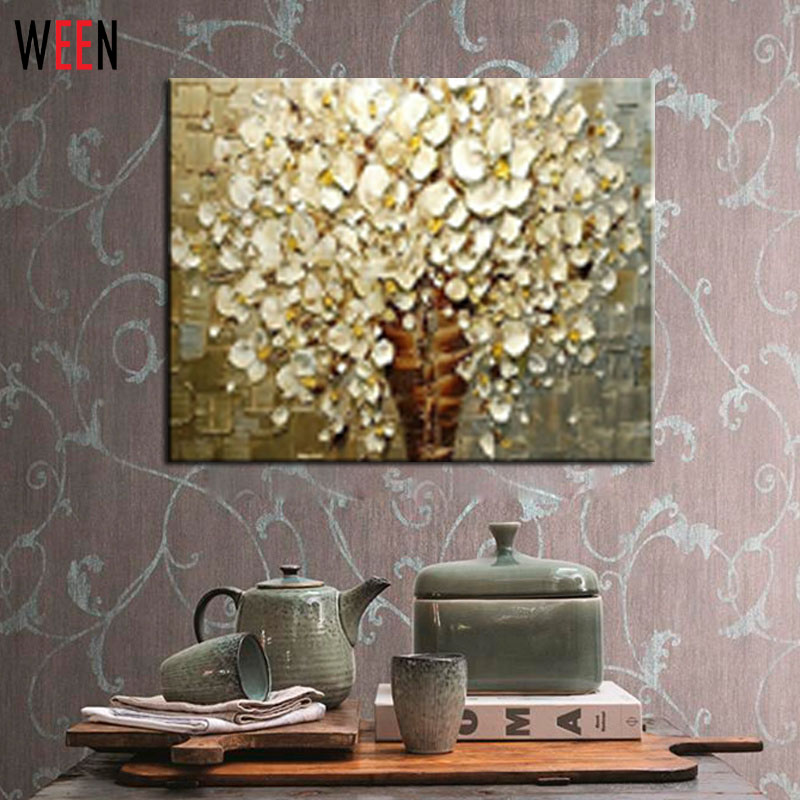 Hand Painted White Flower Thick Colors Palette Knife Modern Home Decor Living Room Hall Wall Art