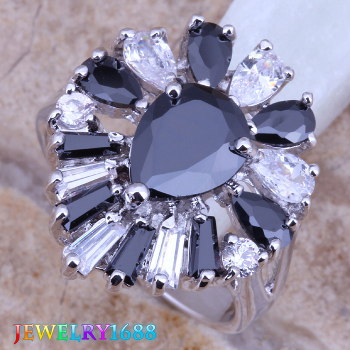 Resplendent Black Sapphire White Topaz Silver Fashion Jewelry & Gift Bag Women's Ring Size 5 / 6 7 8 D406 - jewelry1688 store