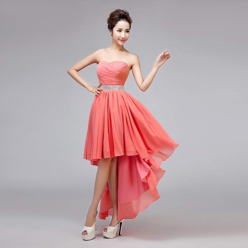 Sweetheart strapless high low coral colored bridesmaid for Plus size coral dress for wedding