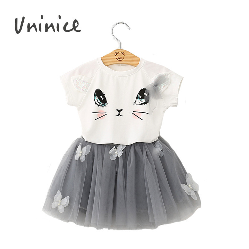 Summer Girls Cat Clothing Sets Cartoon Kitten Printed T-Shirts +Organza Skirts Girls Clothes Sport Suits Girls Boutique Clothing(China (Mainland))