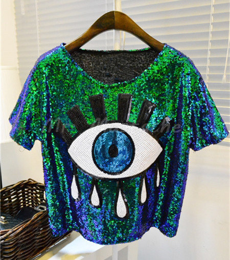 womens tops fashion 2015 crop tops loose summer short tops Sequins Big Eye sexy tshirt casual blusas femininas(China (Mainland))