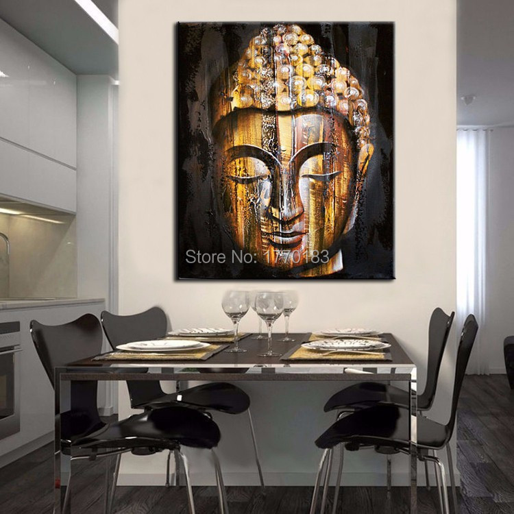 Top quality Hand painted goldern buddha face painting modern asian bouddha wall art decor picture for sitting room decoration(China (Mainland))