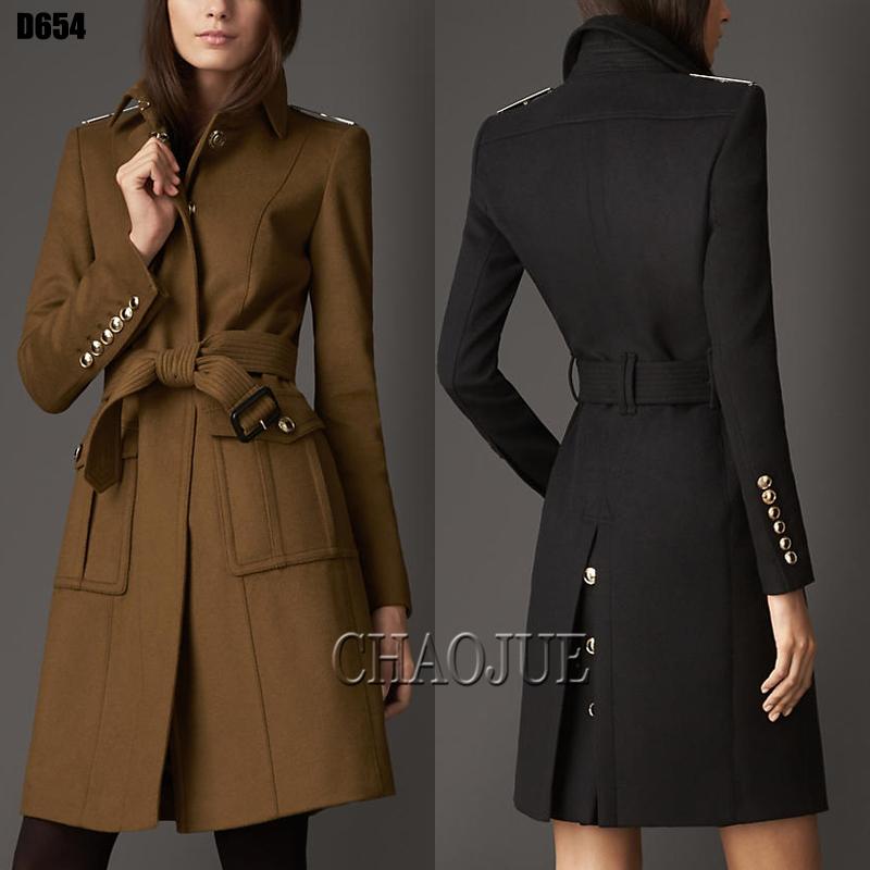 2014 new women autumn winter fashion high end british style metal badges Slim elegant belted desigual woolen coat plus sizeОдежда и ак�е��уары<br><br><br>Aliexpress