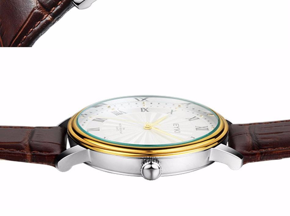 EYKI Бизнес Дизайнер Кварцевые часы для Любителей Платье Известный Бренд Кожаные Женские Часы Montre Femme Марка Люкс Наручные Часы