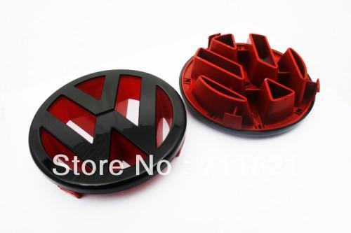Gloss Black / Red Front Grille Emblem For Volkswagen VW Golf MK5 Rabbit / Golf MK5 GTI(China (Mainland))