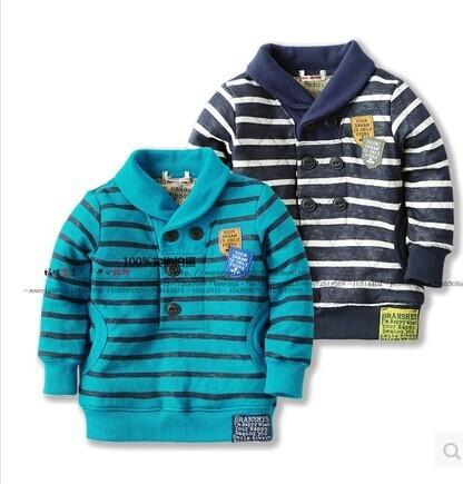 Новый 2014 весна осень дети верхняя одежда и детской одежды мальчиков свободного покроя пуловер прохладный письмо полосатый худи толстовки