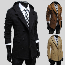 Free shipping Hot-selling Trench Men Double Breasted Trench Men's Outerwear Casual Coat Men's Trench Jackets 4 colors(China (Mainland))