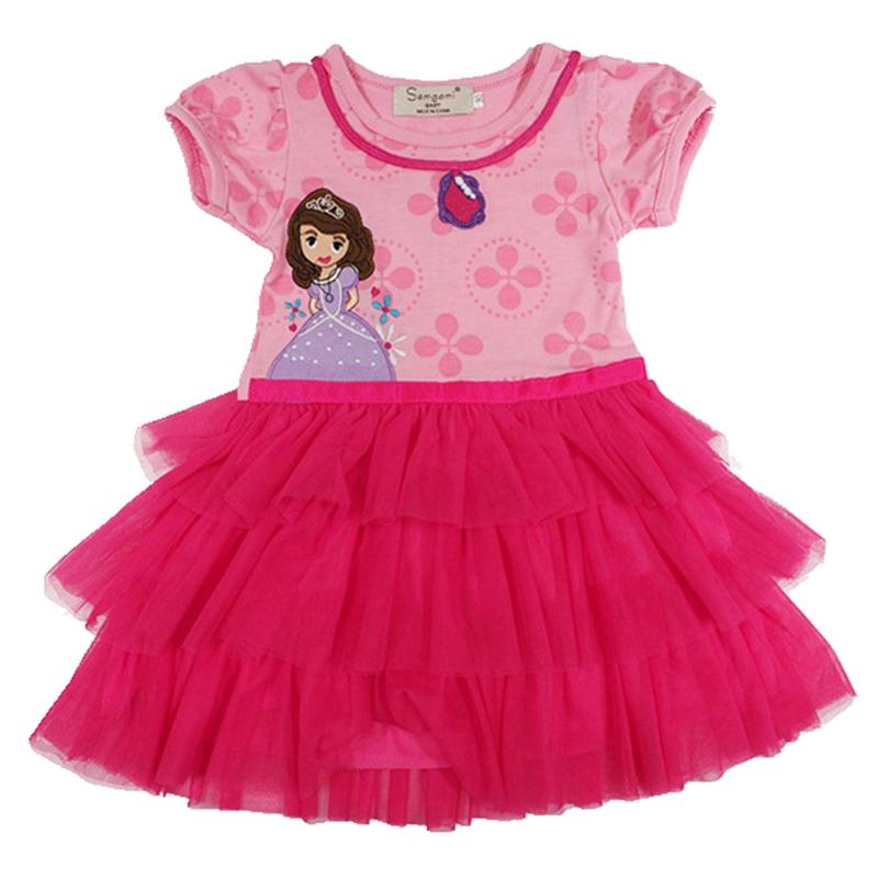 Pink Princess Sofia Dress Hello Kitty Baby Girl Dress Lace Tutus Vestido De Festa Infantil Meninas Vestir Girls' Party Dresses(China (Mainland))