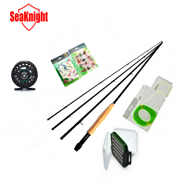 SeaKnight Brand 3/4# 4 Sections Fly Fishing Rod+Full Metal Fly Fishing Reel+Main Lines and Tippet & Loop+Box+Lure Super Set Kit(China (Mainland))
