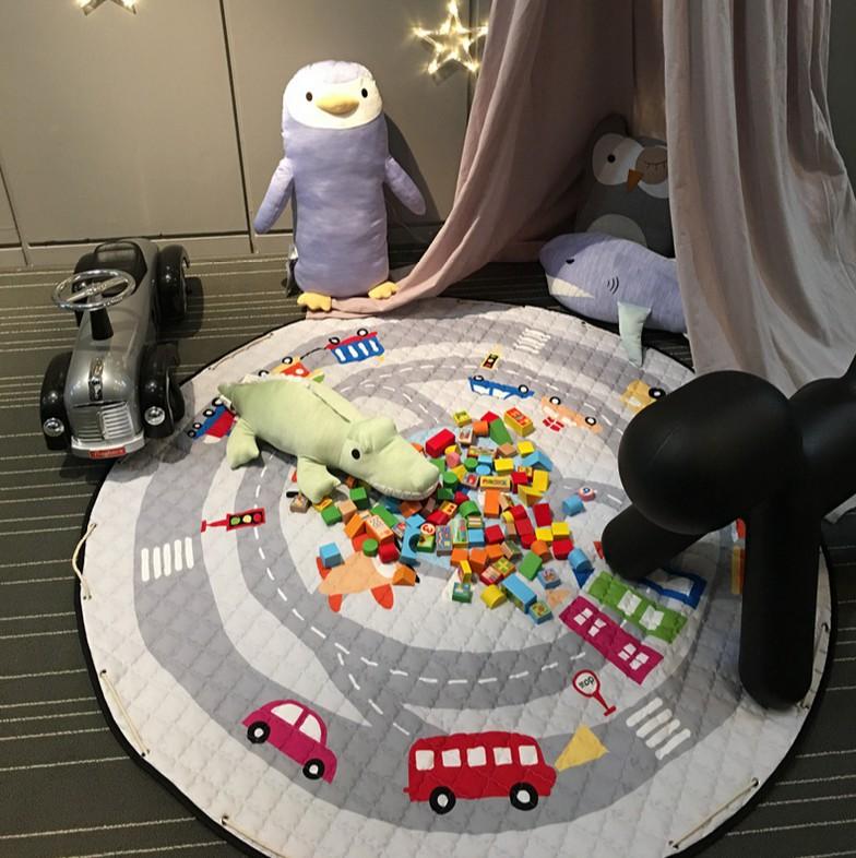 Children crawling mat, bedroom living room carpet, Cotton car track track game pad, home mats,Kids Cotton Storage bag(China (Mainland))