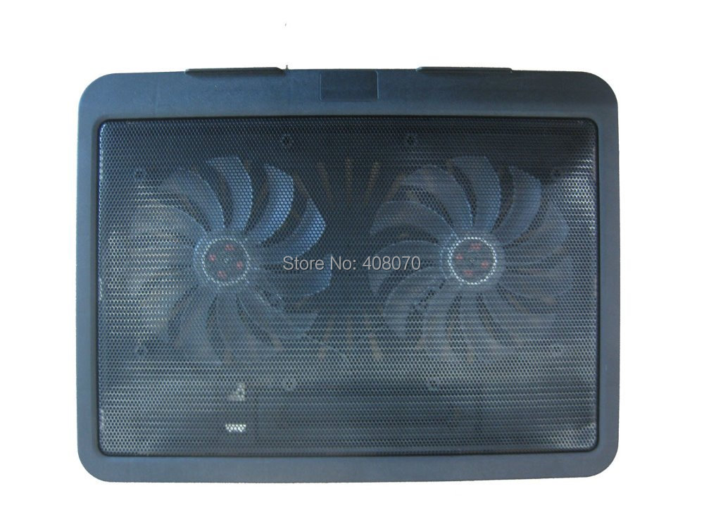 2014 NEW Hot double fans laptop cooling pad cooler retail package (Black) - New Star Industry Company Limited store