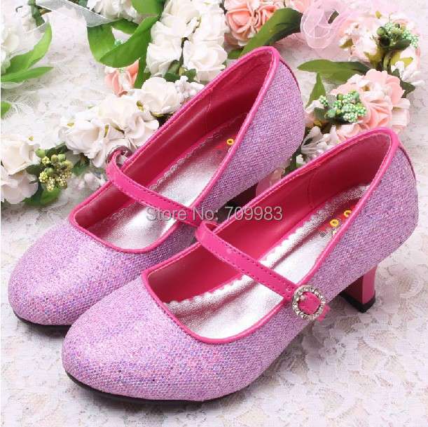 (3 Colors)Wholesale and Retail Children Latin Dance Shoes Wedding Pink Glitter Low Heeled Free Shipping(China (Mainland))