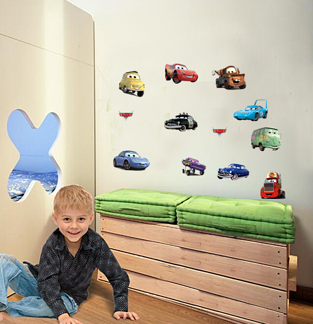 Free shipping Cheap removable diy cars wall stickers children bedroom decor(China (Mainland))