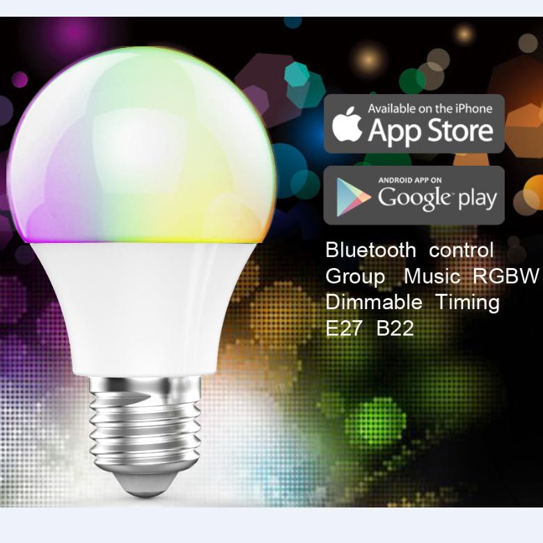 Bluetooth Smart LED Light Bulb E27 RF Wireless 4.5W Bright RGB Lamp , Free shipping(China (Mainland))