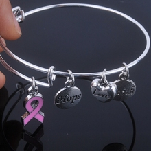 Care For Breast Cancer pink ribbon bangles Hope Love Faith charms bracelet adjustable bangles for Jewelry(China (Mainland))