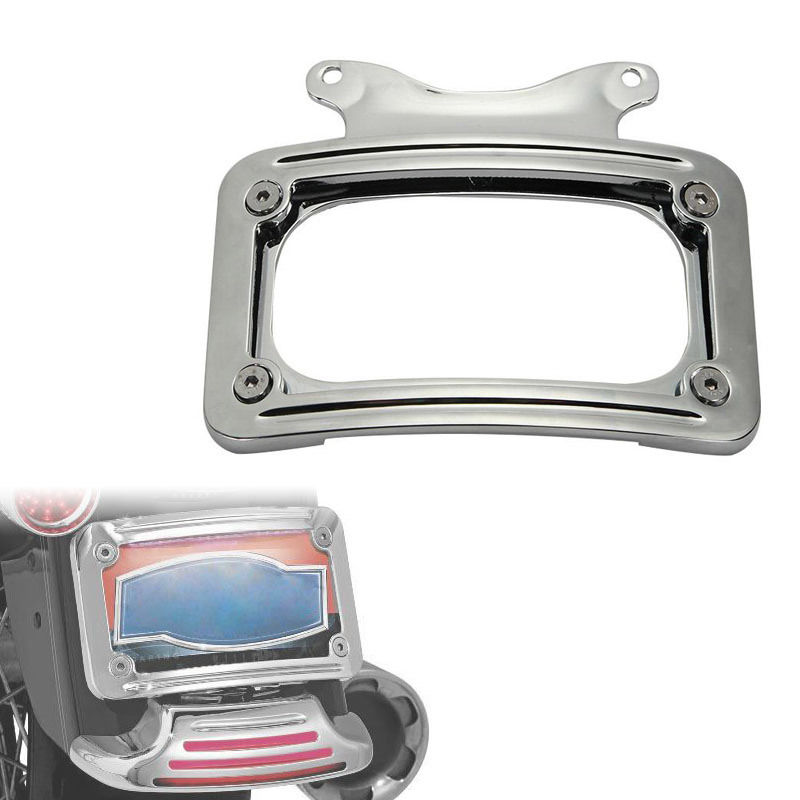 chrome motorcycle aluminum laydown curved license plate frame for 2010 2014 harley davidson street glide flhx