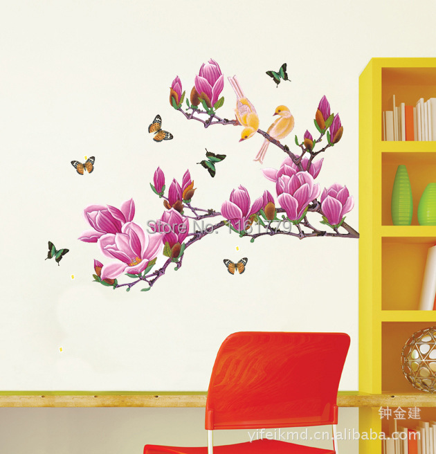 Free shipping Removable Flower Home Art Decor Wall Stickers Chaste magnolia purple Mural Wall Paper Stickers supplier AY1903(China (Mainland))