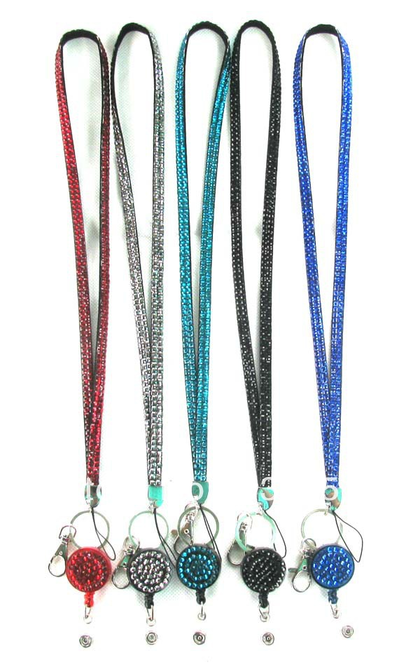 20 Pcs Multi-Colors Bling Crystal Rhinestone LANYARD with Retractable Reel(China (Mainland))