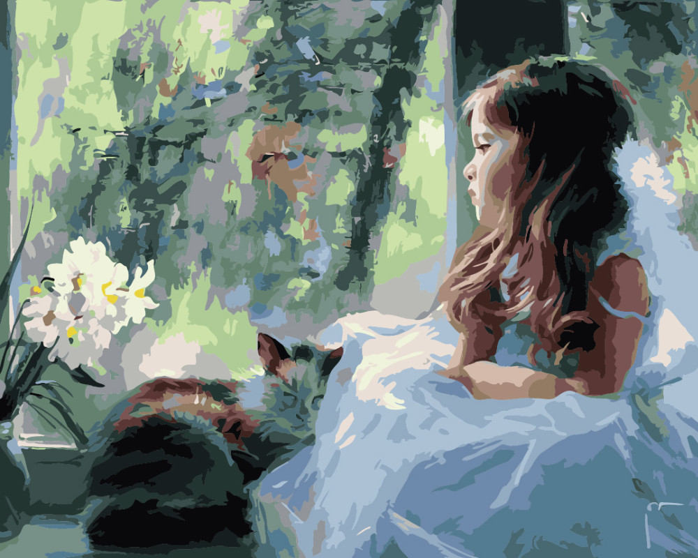 Framed Painting By Numbers DIY digital oil painting decoration unique gifts 40 x 50 cm girl(China (Mainland))