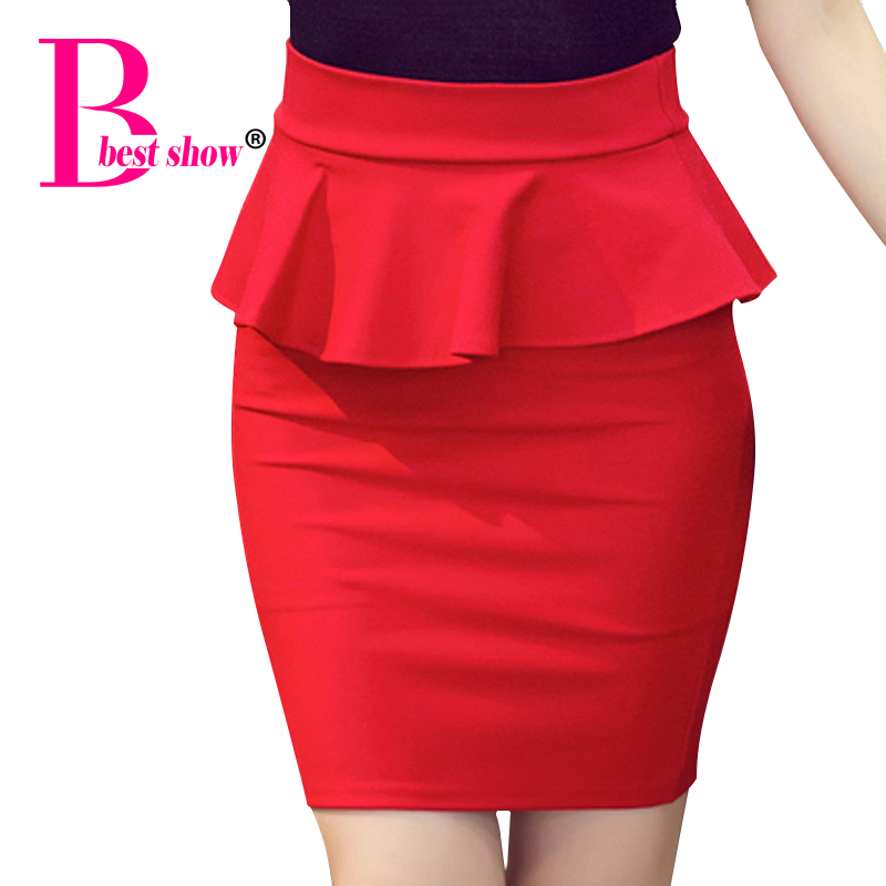 Plus Size Women Pencil Skirts Ruffles 2016 Summer Fashion Korean Casual Ladies Bodycon Skirts Elegant Open Slit Skirts Red Black
