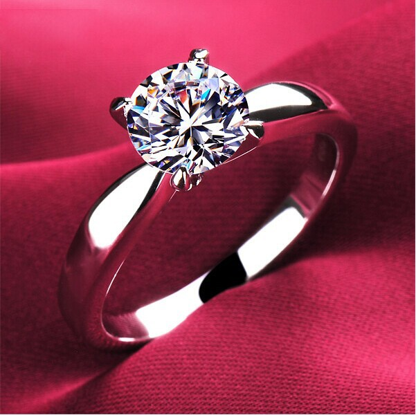 High quality 1.2carat 4 claws CZ diamond Rings for women 18K platinum plated Jewelry Engagement alli