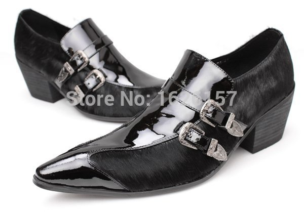 Здесь можно купить  Exquisite Quality 2015 New Men Oxfords Horse Fur Buckles Men Italian Leather Dress Wedding Shoes Design Luxury Brand Men Shoes  Обувь