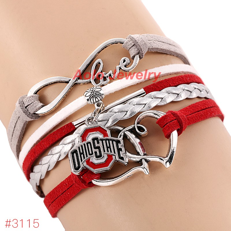 Infinity Love Ohio State Buckeyes College Football Bracelet 2016 New Leather Bracelet Fans Jewelry 6Pcs/Lot ! Free Shipping!(China (Mainland))