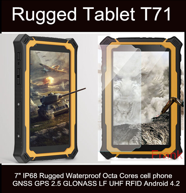 Original Rugee T71 Tablet PC 7Inch Cell Phone Octa Core IP68 waterproof 2GB/32GB 13MP 9650mAh GNSS GPS 2.5 GLONASS UHF RFID GPS(China (Mainland))