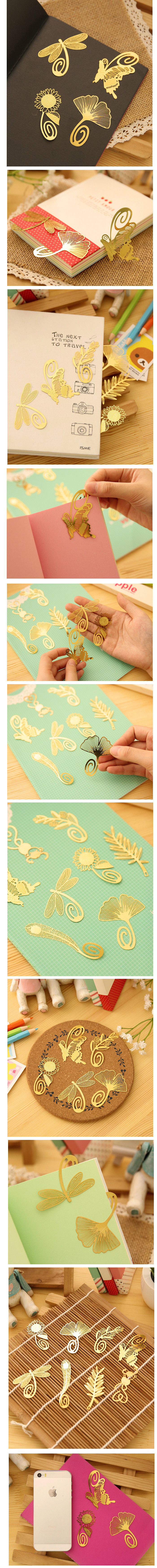 2017 wholesale cute gold metal bookmark butterfly flowers leaves
