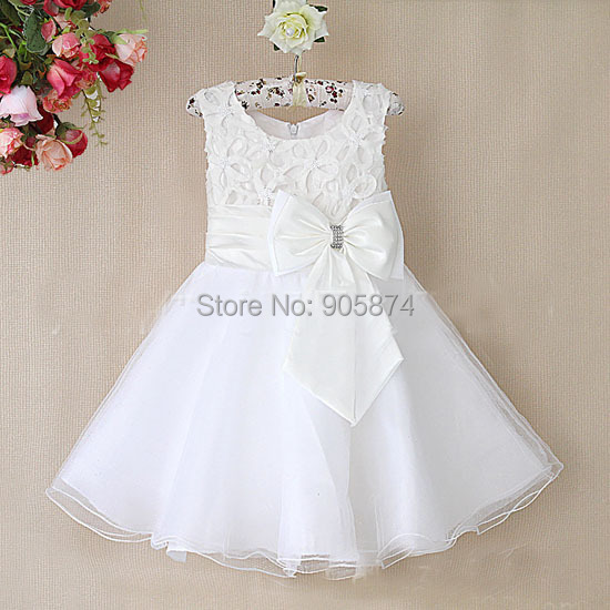 2015 white Baby Girl Wedding Party Dresses,Girl Gorgeous Princess Dress,kids girls christmas tutu lace big Bow dress 3-8year - MixKelly Children Clothes Center store