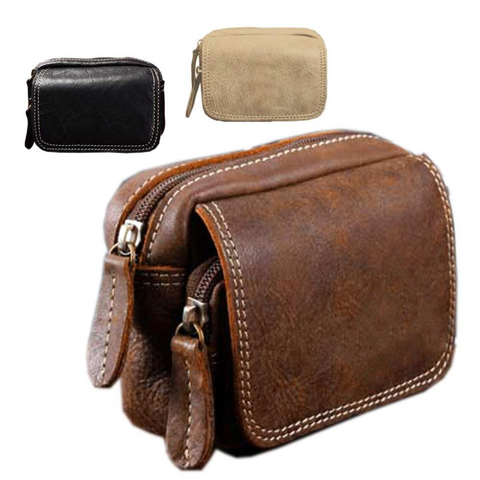 2014 High Quality Men Small Leather Waist Bags Fashion Design Zipper Men Waist Packs black Grey