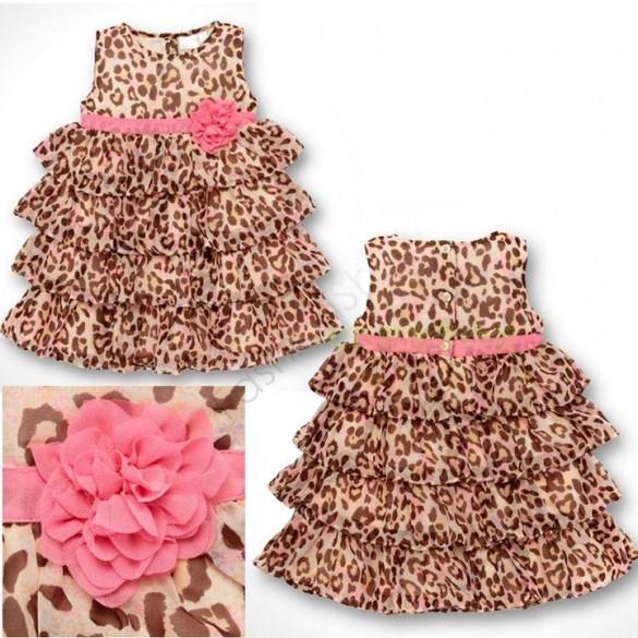 2015 New Summer Baby Kids Toddler Girl Princess Dress Clothes Leopard Print Girls Tutu Dresses 35(China (Mainland))